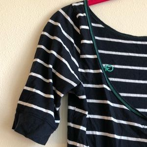 Scoop-Back Striped Tee Shirt